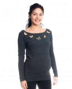 Tehotenské, dojčiace tričko / blúzka dlhý rukáv s potlačou motýliků - grafitové, veľ. XL