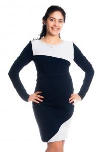 Be MaaMaa Tehotenské / dojčiace šaty Jane, dlhý rukáv - granátové, veľ. XL