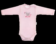 Dojčenské body Motýlik srdiečko - dlhý rukáv, růžové, Sweet like mum