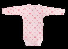 Dojčenské body Motýlik srdiečko - dlhý rukáv, růžové, veľ. 74