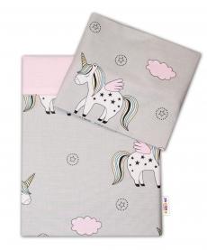 Baby Nellys 2-dielne bavlnené obliečky Jednorožec - sivá/růžová