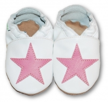 475d1c16f9b6 Kožené mäkučké topánočky s ružovou hviezdou - biele