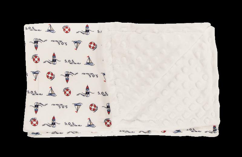 Detská deka, dečka Maják 80x90 - Minky/bavlna, granát