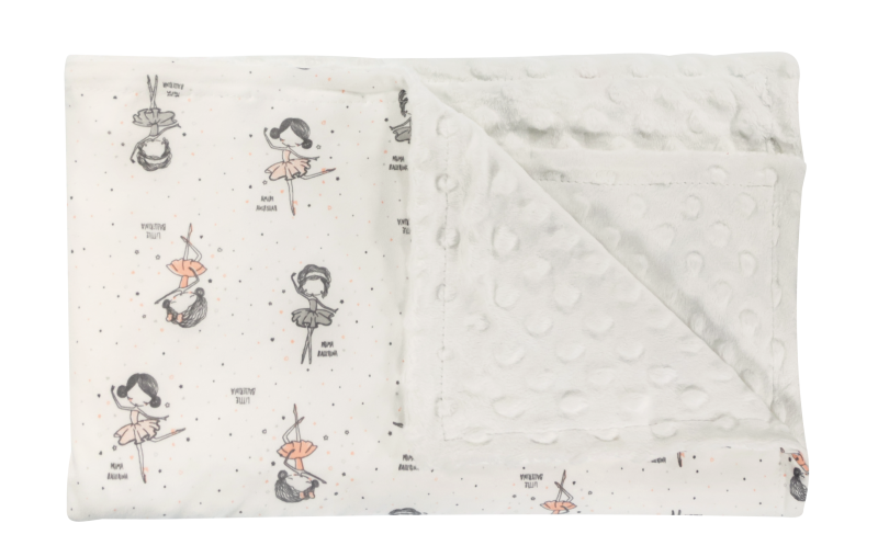 Detská deka, dečka Baletka, 75x90 - Minky/bavlna, biela