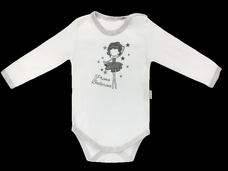 Dojčenské body Baletka - dlhý rukáv, biele, veľ. 80-80 (9-12m)