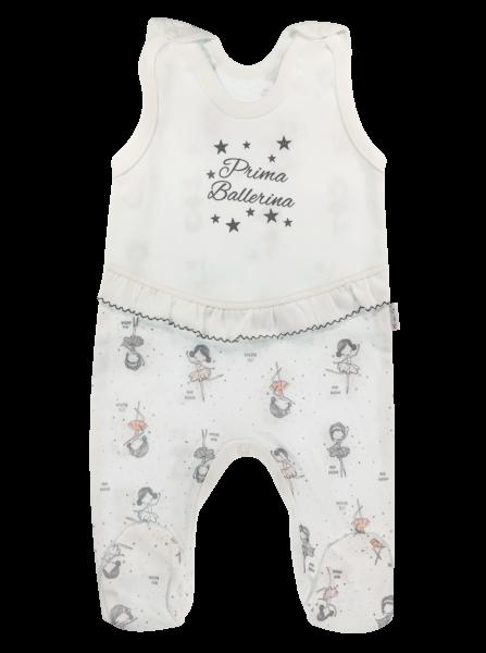 Dojčenské bavlnené dupačky Baletka, biele, veľ. 56