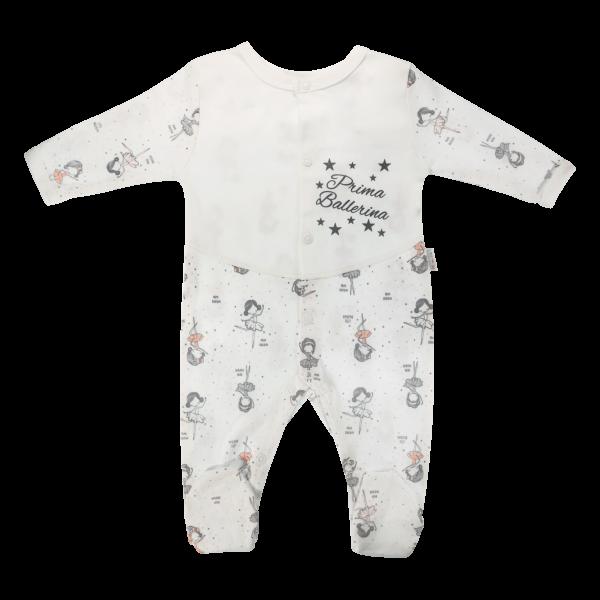 Dojčenský bavlnený overal Baletkaa, biely, veľ. 62