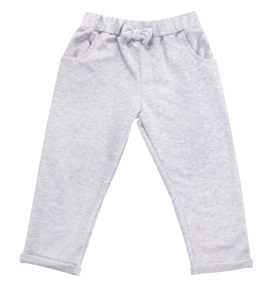 Bavlnené tepláčky s mašličkou a kapsami Baletka, sivé, veľ. 92-92 (18-24m)