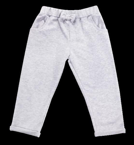Bavlnené tepláčky s mašličkou a vreckami Baletka, sivé, veľ. 104