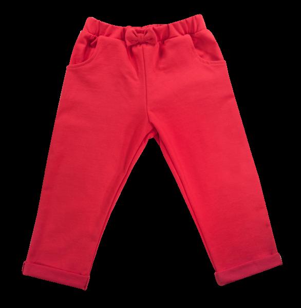 Kojenecké bavlnené tepláčky s mašličkou a vreckami Baletka, červené, veľ. 92