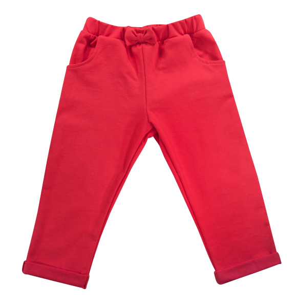 Bavlnené tepláčky s mašličkou a vreckami Baletka, červené, veľ. 104