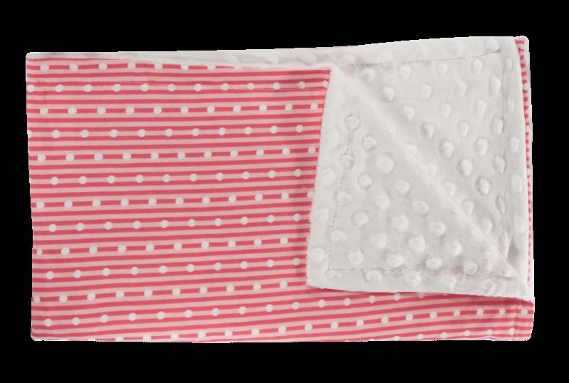 Detská deka, dečka Love Girl, 75x90 - Minky/bavlna, červená, minky - biela