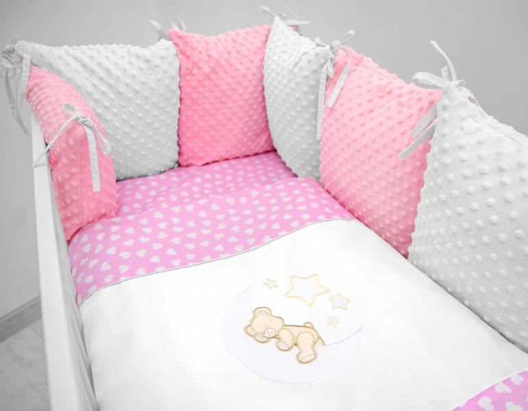 Vankúšikový mantinel s Minky s obliečkami s výšivkou - ružová, biela, srdiečka - Mesiačik