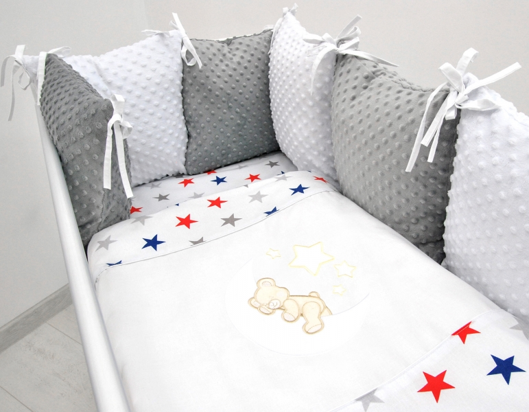 Vankúšikový mantinel s Minky s obliečkami s výšivkou - biela, hviezd. gran/čer - Mesiačik, 120x90 cm