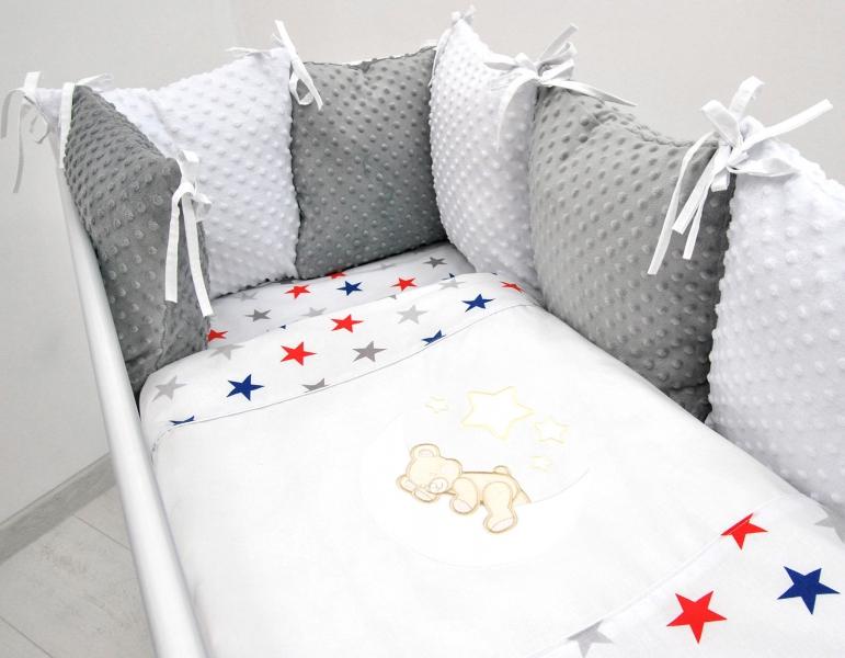 Vankúšikový mantinel s Minky s obliečkami s výšivkou - biela, hviezd. gran/čer - Mesiačik, 135x100 cm