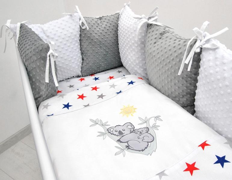 Vankúšikový mantinel s Minky s obliečkami s výšivkou - biela, hviezd. gran/čer - Koala, 120x90 cm
