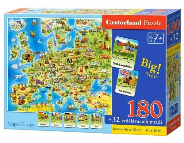 Teddies Puzzle Mapa Európy 180 dielikov + 32 puzzlí náučné 46x40cm v krabici 33x23x5cm.