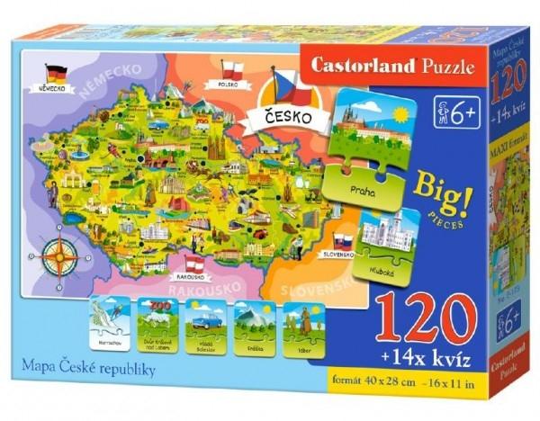 Puzzle Mapa Českej republiky 120 dielikov + 14 kvízov náučné 40x28cm v krabici