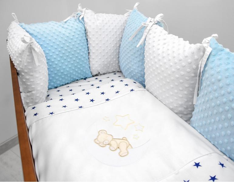 Vankúšikový mantinel s Minky s obliečkami s výšivkou - biela, modrá, hviez/gran - Mesiačik