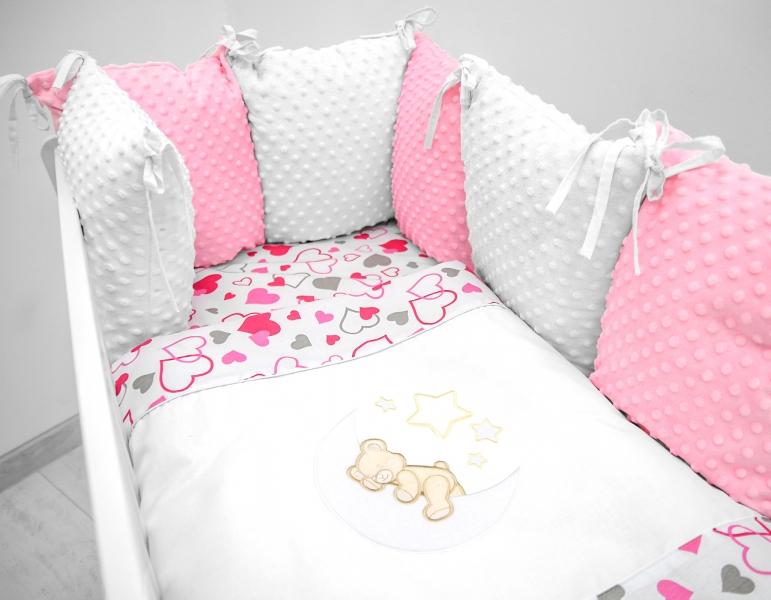 Vankúšikový mantinel s Minky s obliečkami s výšivkou - biela, ružová, love - Mesiačik