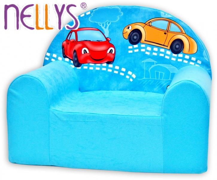 Náhradný poťah na detské kreslo Nellys - Veselá autíčka v modrom