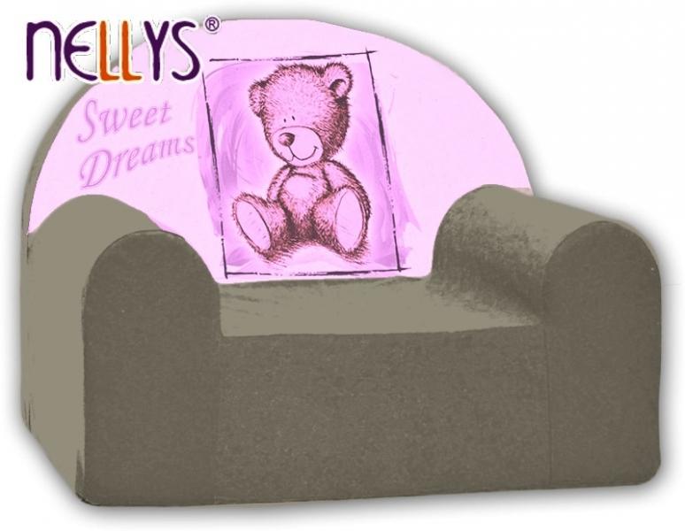 Náhradný poťah na detské kreslo Nellys - Sweet Dreams by TEDDY -  šedé