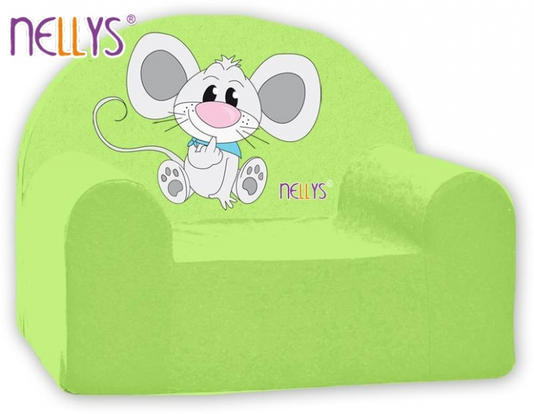 Náhradný poťah na detské kreslo Nellys - Myška v zelenom