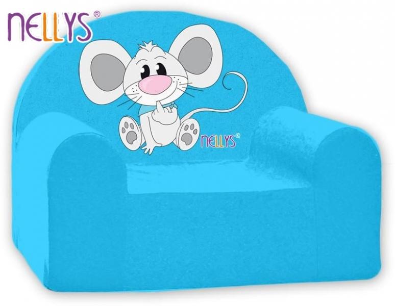 Náhradný poťah na detské kreslo Nellys - Myška v modrom