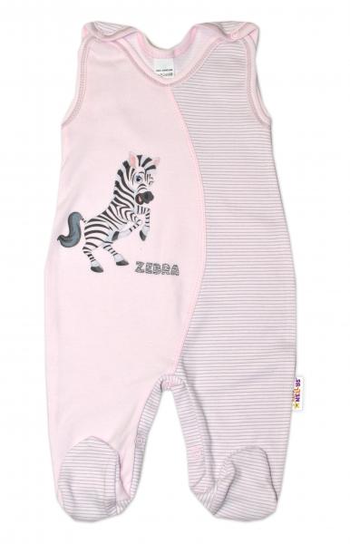Dojčenské bavlnené dupačky, Zebra - růžové, veľ. 56