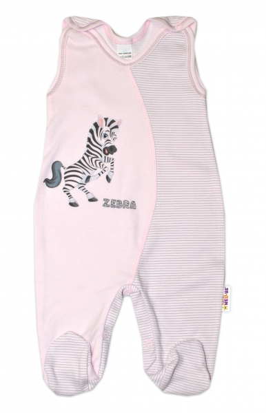 Dojčenské bavlnené dupačky, Zebra - růžové, veľ. 62