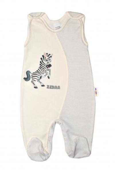 Dojčenské bavlnené dupačky, Zebra - smetanové, veľ. 56