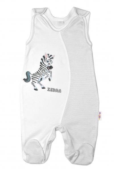 Baby Nellys Dojčenské bavlnené dupačky, Zebra - biele, veľ. 74