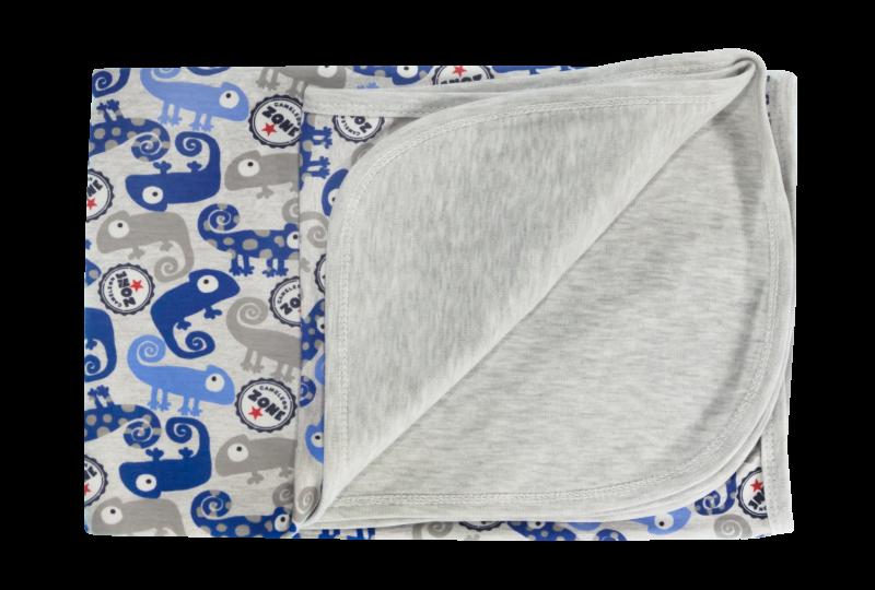 Detská deka, dečka Chameleon, 80x90 - bavlna, modrá