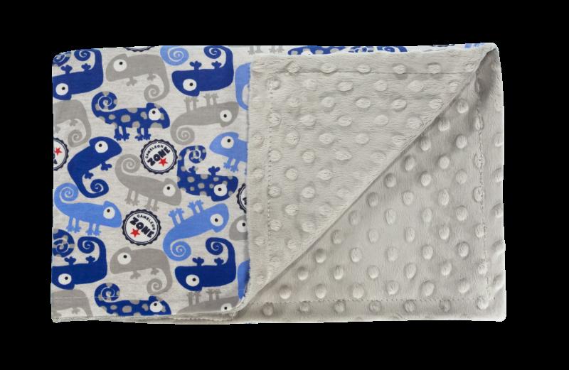 Detská deka, dečka Chameleon 75x90 - Minky/bavlna, modrá
