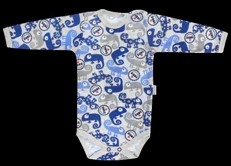 Dojčenské body Chameleon - dlhý rukáv, šedé/modré-68 (4-6m)
