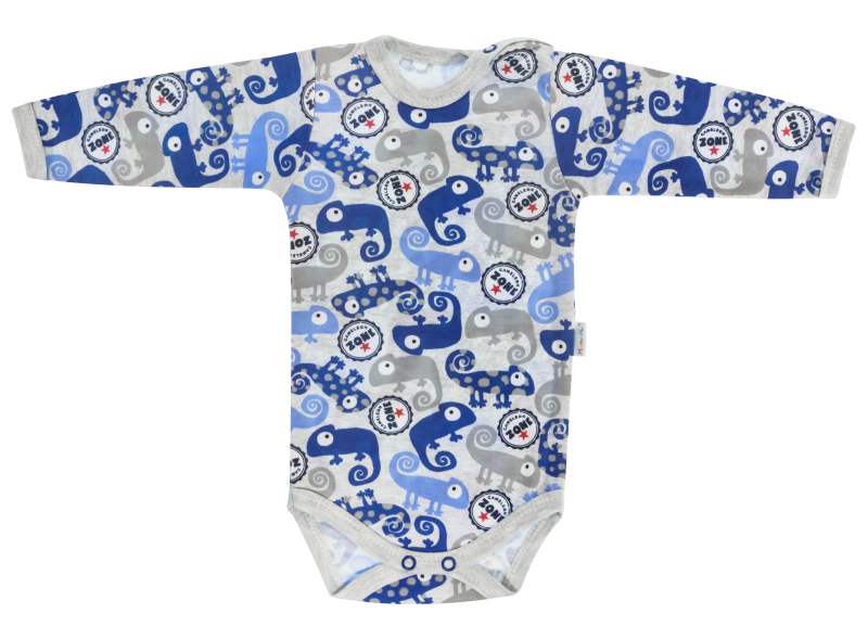 Dojčenské body Chameleon - dlhý rukáv, šedé/modré, veľ. 74-74 (6-9m)