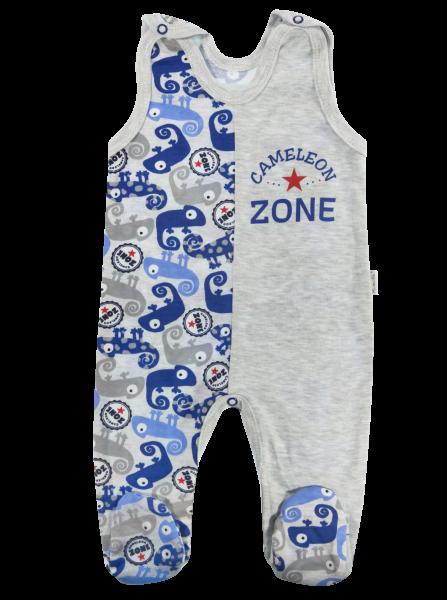 Dojčenské bavlnené dupačky Chameleon, šedá/modrá, veľ. 80