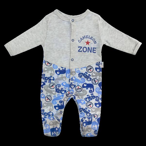 Dojčenský bavlnený overal Chameleon, šedá/modrá, veľ. 56