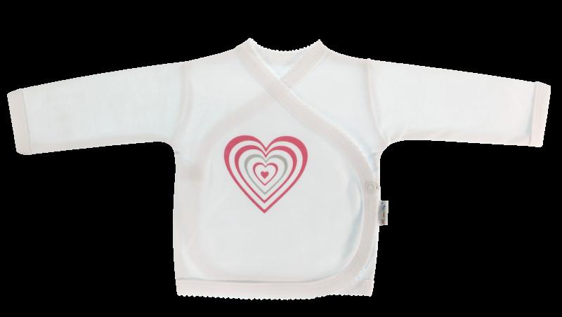 Mamatti Novorodenecká košieľka Love Girl - zapínanie bokom, biela so srdíčkom, veľ. 62-62 (2-3m)