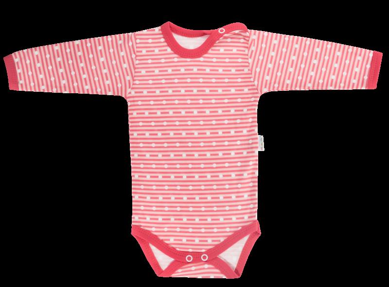 Mamatti Dojčenské body Love Girl - dlhý rukáv, červené, veľ. 80