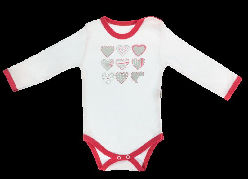 Dojčenské body Love Girl - dlhý rukáv, biele so srdíčkom-68 (4-6m)