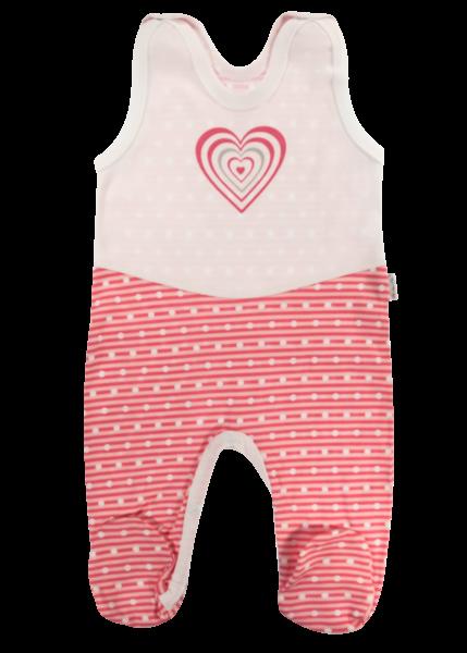Mamatti Dojčenské bavlnené dupačky Love Girl, bielo-červené, veľ. 62-62 (2-3m)