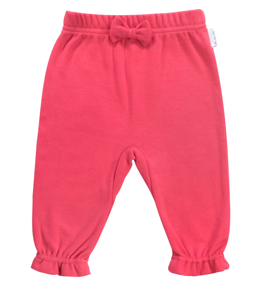 Mamatti Bavlnené tepláčky s mašličkou Love Girl, červené, vel. 74-74 (6-9m)