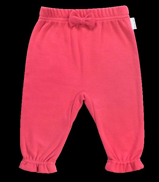 Mamatti Bavlnené tepláčky s mašličkou Love Girl, červené, vel. 80-80 (9-12m)