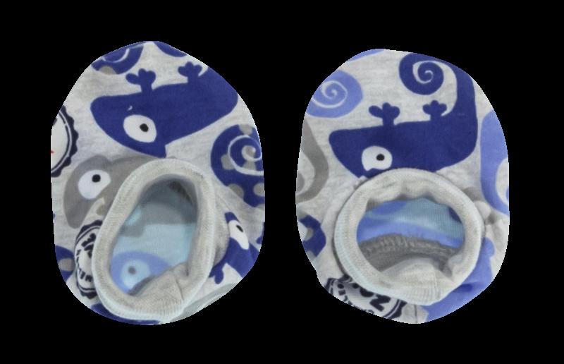 Mamatti Dojčenské topánočky / ponožtičky Chameleon, modré/šedá