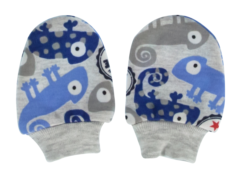 Mamatti Dojčenské rukavičky Chameleon, modré/šedá