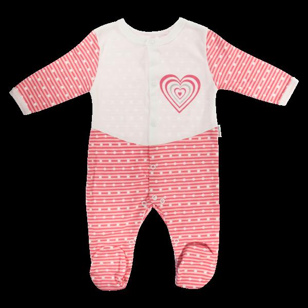 Dojčenský bavlnený overal Love Girl, bielo-červený, veľ. 62-62 (2-3m)