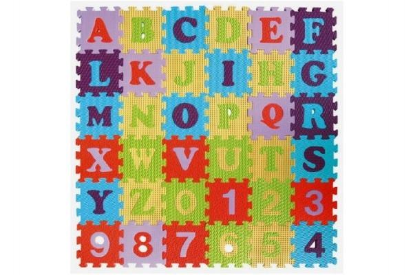 Teddies Penové puzzle abeceda a čísla - mix farieb