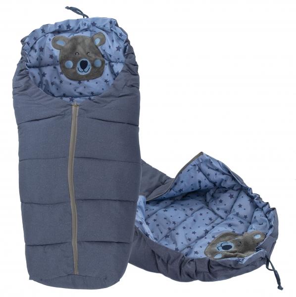 ICE BABY Luxusné fusak 4v1 Macko hviezdičky, 90x50cm - jeans