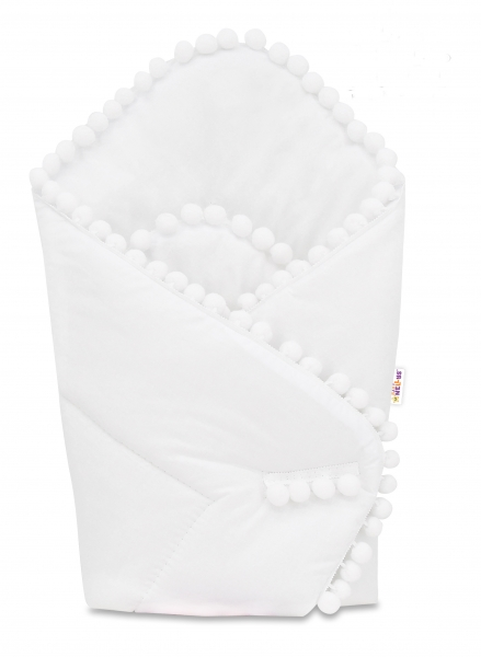 Baby Nellys  Novorodenecká bavlnená zavinovačka s brmbolcami, 75x75cm - biela